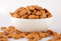 Bowl  OF ORGANIC Almond background texture . Royalty Free Stock Images