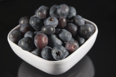 Bowl of Blueberries on Black Stock Image