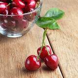 Bowl of organic Cherries Stock Images