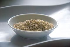 Bowl of organic pearl barley on white plate.  Royalty Free Stock Photography
