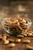 Bowl of Organic Raw Almonds Royalty Free Stock Image