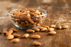 Bowl of Organic Raw Almonds Royalty Free Stock Photography