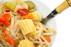 Bowl of oriental type noodles and fork Stock Photos