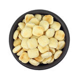 Bowl of Oyster Crackers Overhead View Stock Images