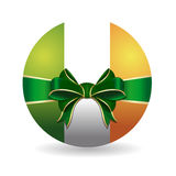 Bowl painted in the colors of the Irish flag tied with green ribbon with a bow Stock Photography