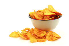 Bowl of paprika chips Royalty Free Stock Photography