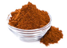 Bowl with Paprika Powder (on white) Royalty Free Stock Photos