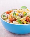 Bowl of pasta salad Stock Images