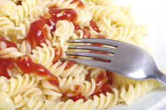Bowl of pasta in a tomato sauce. Stock Photography