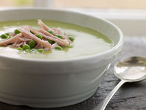Bowl of Pea and Ham Soup Royalty Free Stock Photos