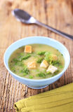 Bowl of pea soup Royalty Free Stock Images