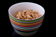 Bowl of peanuts Stock Image