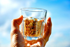 Bowl of peanuts Stock Images