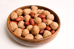 Bowl of pecans & walnuts Stock Photo