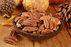 Bowl of pecans Royalty Free Stock Photo