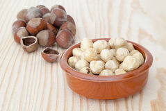 Bowl peeled hazelnuts Royalty Free Stock Image