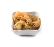 Bowl of peeled natural shrimps Stock Photo