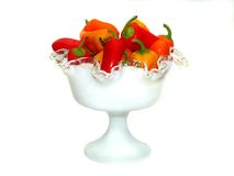 Bowl of Peppers 6. Bowl of assorted Red, Yellow, Orange sweet peppers against white background Royalty Free Stock Image