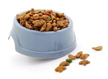 Bowl of pet food for cats and dogs. Isolated on white royalty free stock photography