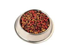 Bowl of pet food for cats and dogs. Isolated on white royalty free stock photo