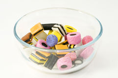 A bowl of picking candy. With different coloured candy pieces Stock Image