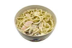 Bowl with pickled onion and herring. Royalty Free Stock Photos