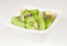 Bowl of pieces of kiwi Royalty Free Stock Image