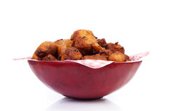 Bowl with Pile of Dutch donut also known as oliebollen, traditio Royalty Free Stock Images