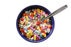 Bowl with Pills Stock Images