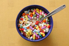 Bowl with Pills Stock Image