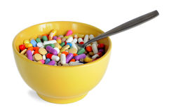 Bowl with Pills Stock Photos