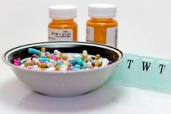 Bowl of Pills royalty free stock image