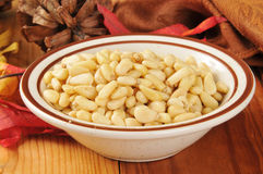 Bowl of pine nuts Royalty Free Stock Image