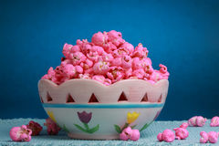 Bowl of Pink popcorn Stock Images