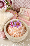 Bowl of pink sea salt Royalty Free Stock Image