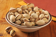 Bowl of pistachio nuts Stock Photography