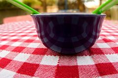 Bowl on plaid tablecloth royalty free stock photo