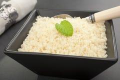 Moroccan Food Plain Couscous Spoon Black Square Bowl Stock Image