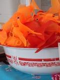 Bowl of Plastic Goldfish Stock Photo