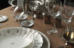 Bowl and plate 1. Table setting of dishes, utensils, and glassware royalty free stock photo