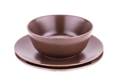 Bowl and plates Stock Images