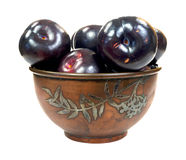 Bowl of plums Royalty Free Stock Photography