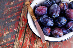 Bowl of plums Stock Photography