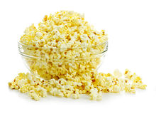Bowl of popcorn. Bowl of fresh popped popcorn isolated on white background Royalty Free Stock Photos