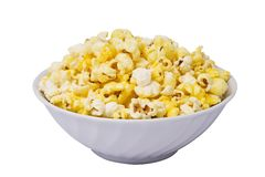 Bowl of popcorn. Popcorn in a white bowl isolated on a white background Stock Photography