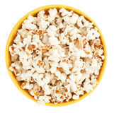 Bowl of popcorn. On white background. Top view Royalty Free Stock Photo