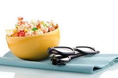 Bowl of popcorn and 3D movie Royalty Free Stock Photo