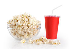 A bowl of popcorn and a paper cup Royalty Free Stock Photos