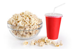 A bowl of popcorn and a paper cup Stock Photos