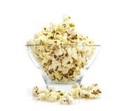 Bowl of popcorn on white Royalty Free Stock Photo